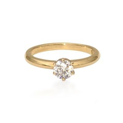 18ct yellow gold classic six claw set diamond engagement ring